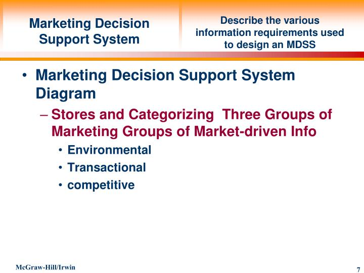 Describe the various information requirements used to design an MDSS