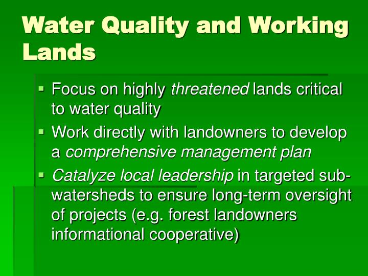 Water Quality and Working Lands