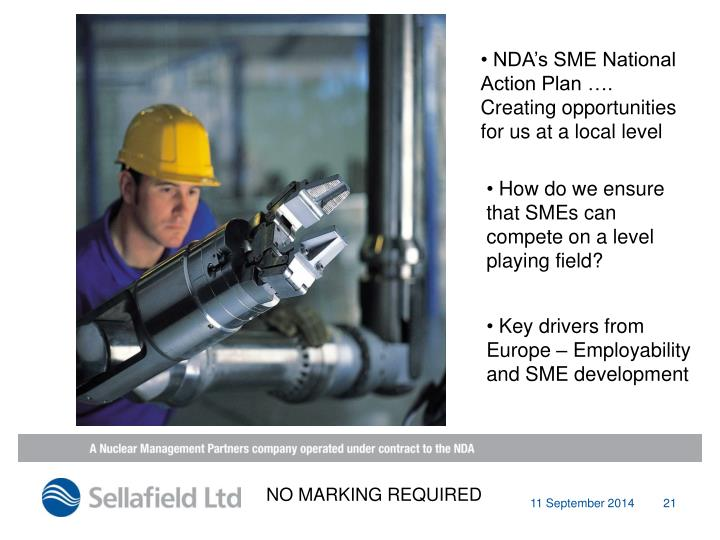 NDA's SME National Action Plan …. Creating opportunities for us at a local level