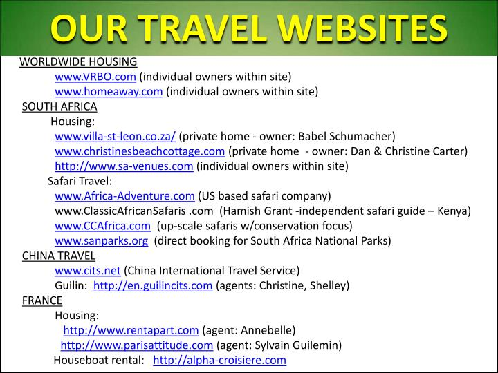 OUR TRAVEL WEBSITES
