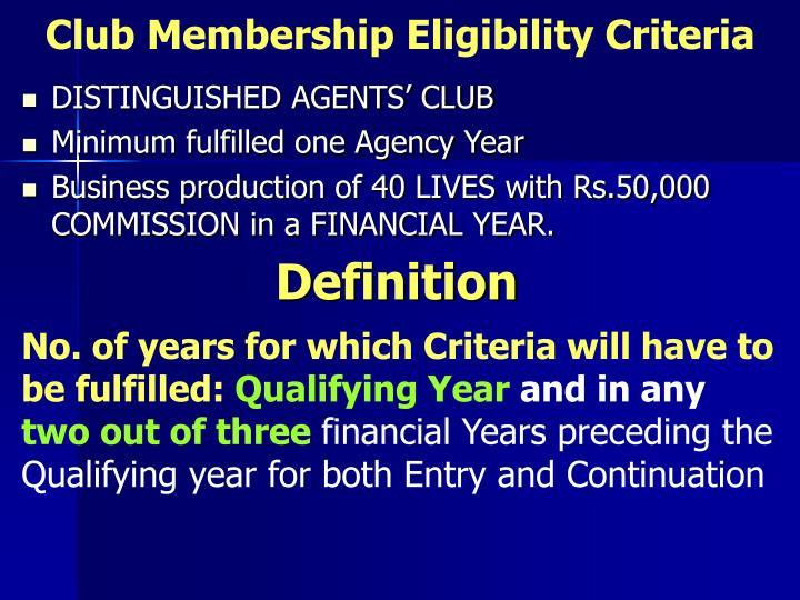 Club Membership Eligibility Criteria