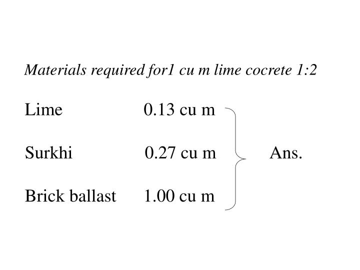 Materials required for1 cu m lime cocrete 1:2