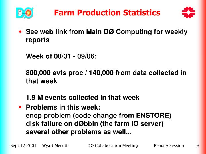 Farm Production Statistics
