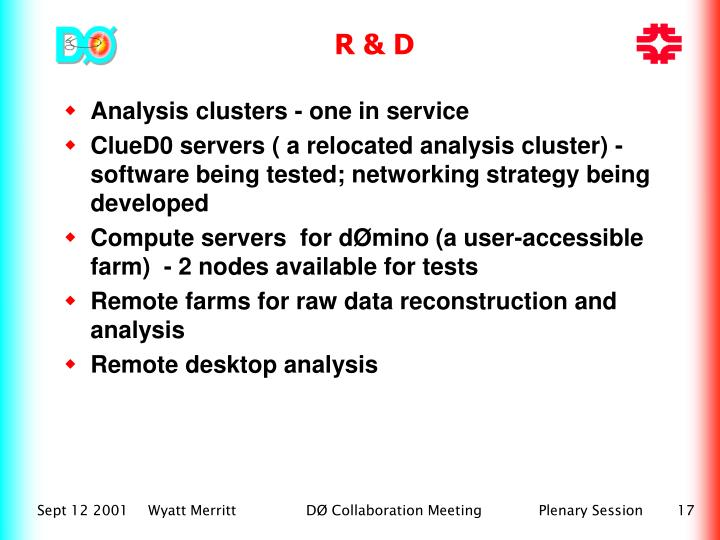 Analysis clusters - one in service