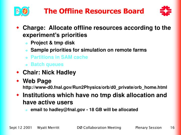 The Offline Resources Board