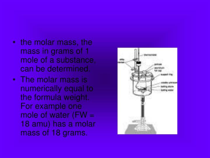 the molar mass, the mass in grams of 1 mole of a substance, can be determined.