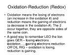oxidation reduction redox