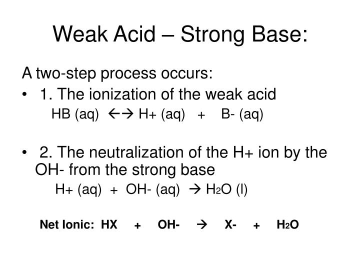Weak Acid – Strong Base: