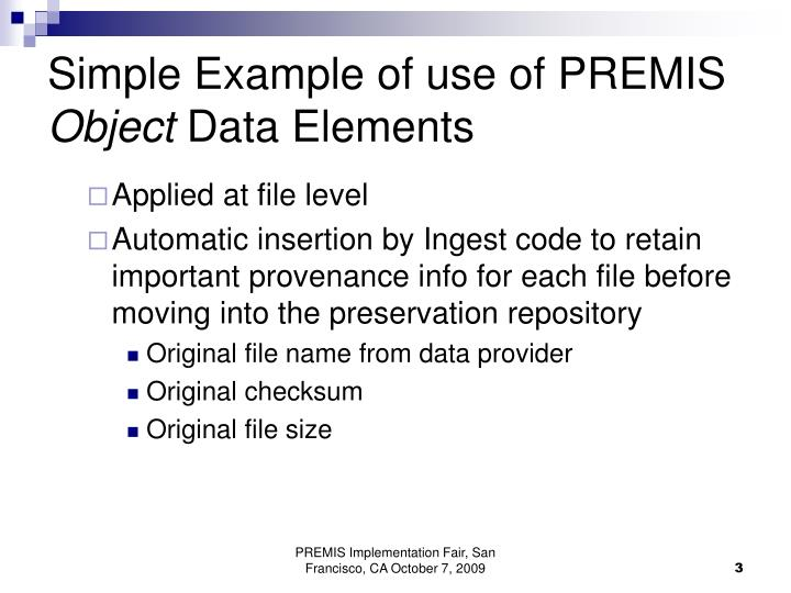 Simple Example of use of PREMIS