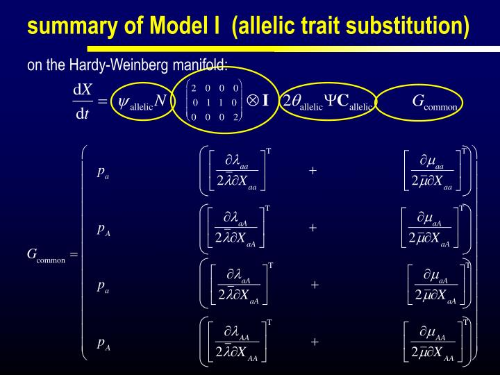 summary of Model I  (allelic trait substitution)