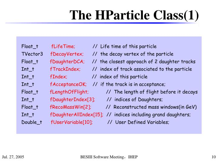 The HParticle Class(1)