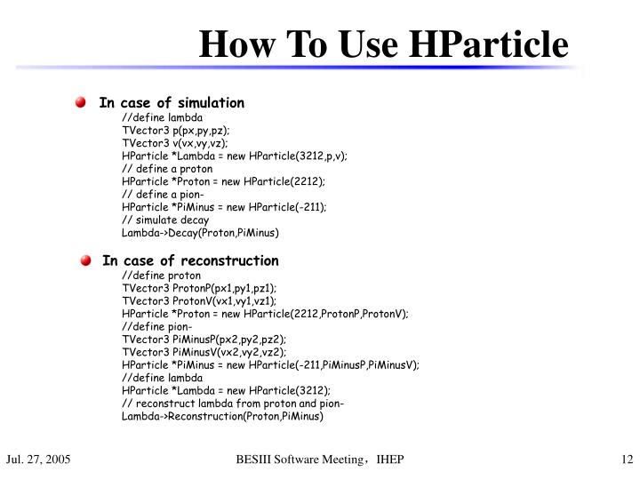 How To Use HParticle