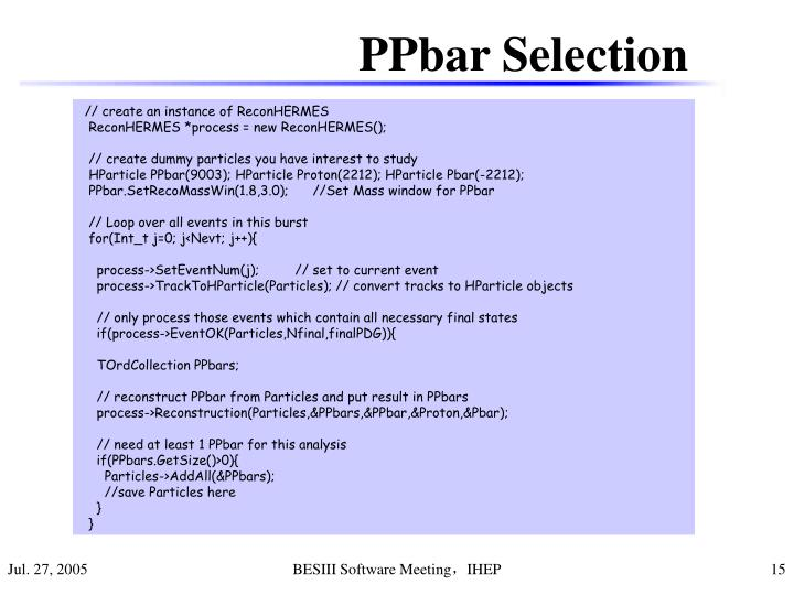 PPbar Selection
