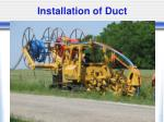 installation of duct