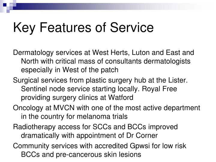 Key Features of Service