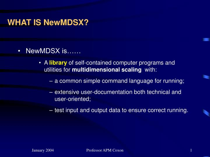 What is newmdsx