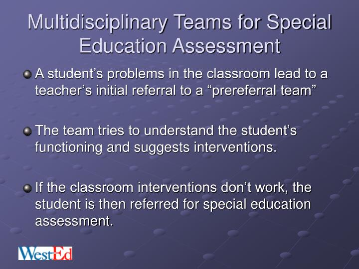Multidisciplinary Teams for Special Education Assessment