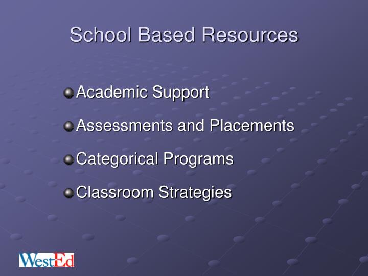School Based Resources
