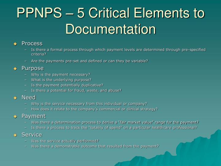 PPNPS – 5 Critical Elements to Documentation