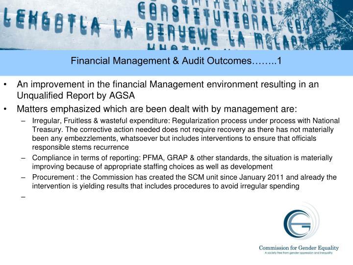 Financial Management & Audit Outcomes……..1