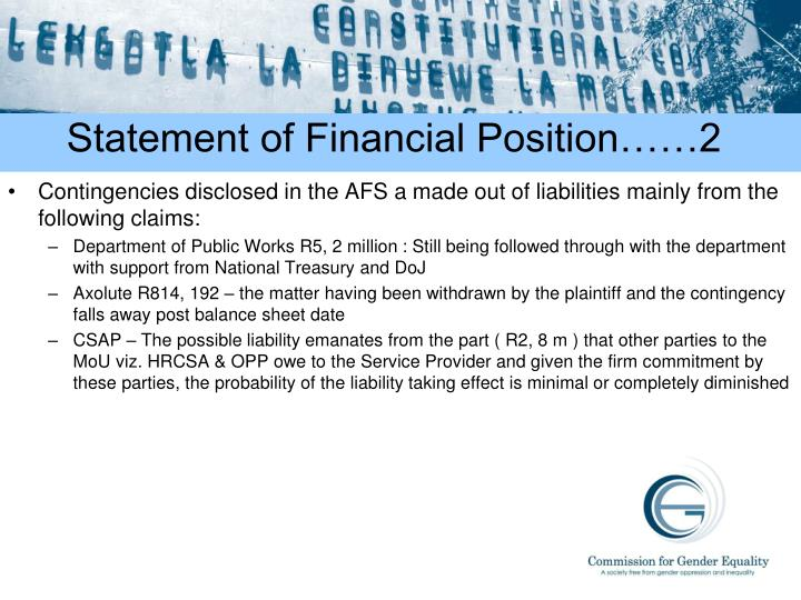 Statement of Financial Position……2