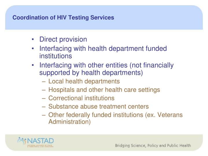 Coordination of HIV Testing Services