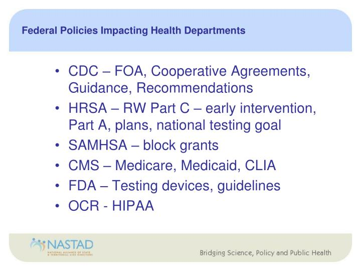 Federal Policies Impacting Health Departments