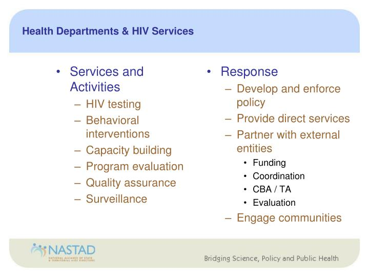 Health Departments & HIV Services