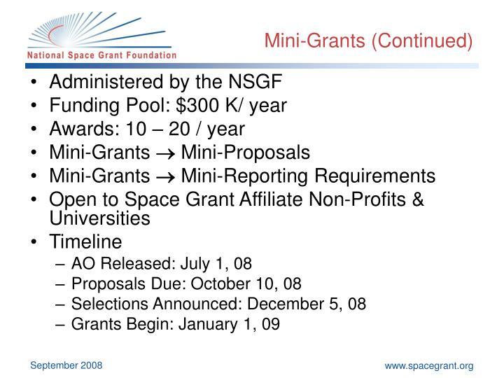Mini-Grants (Continued)