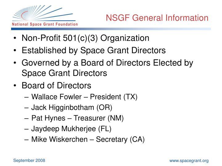 NSGF General Information