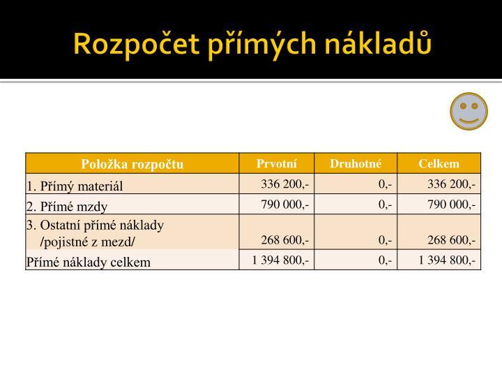 Rozpočet přímých nákladů