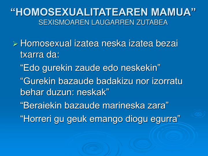 """HOMOSEXUALITATEAREN MAMUA"""