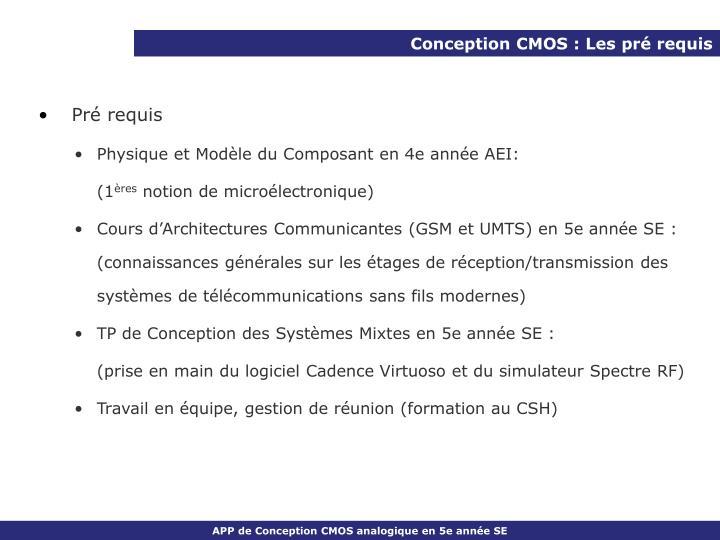Conception CMOS : Les pré requis