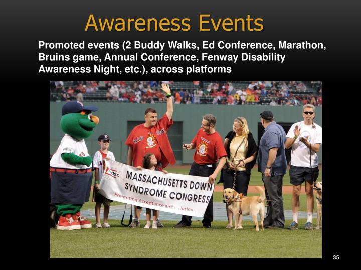 Promoted events (2 Buddy Walks, Ed Conference, Marathon, Bruins game, Annual Conference, Fenway Disability Awareness Night, etc.), across platforms