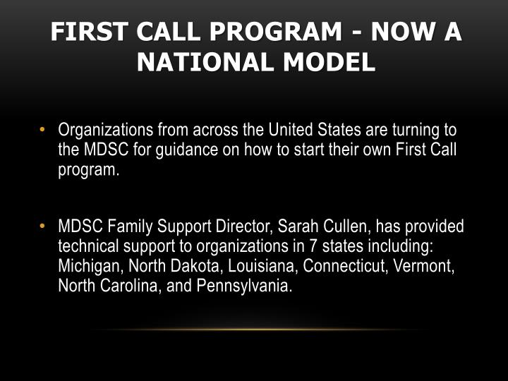 First Call Program - Now a National Model