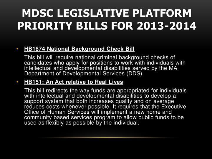 MDSC Legislative Platform Priority Bills for 2013-2014