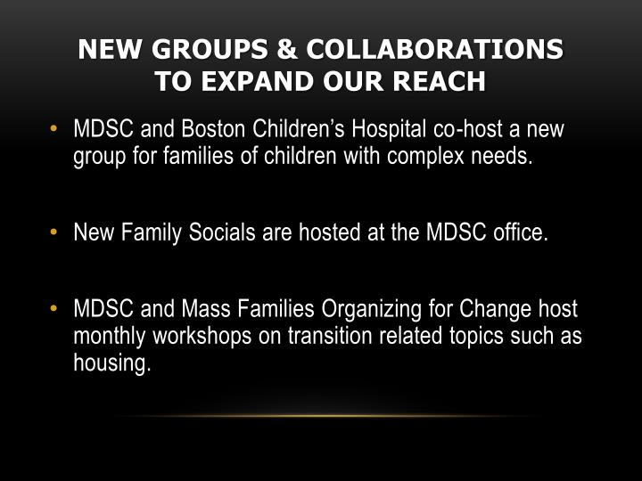 New groups & collaborations