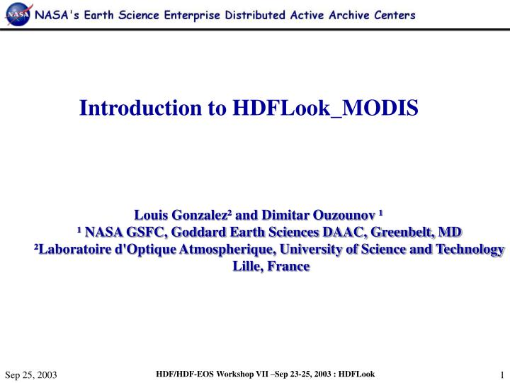 Introduction to HDFLook_MODIS