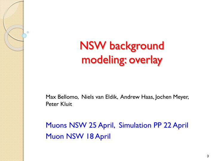 Nsw background modeling overlay