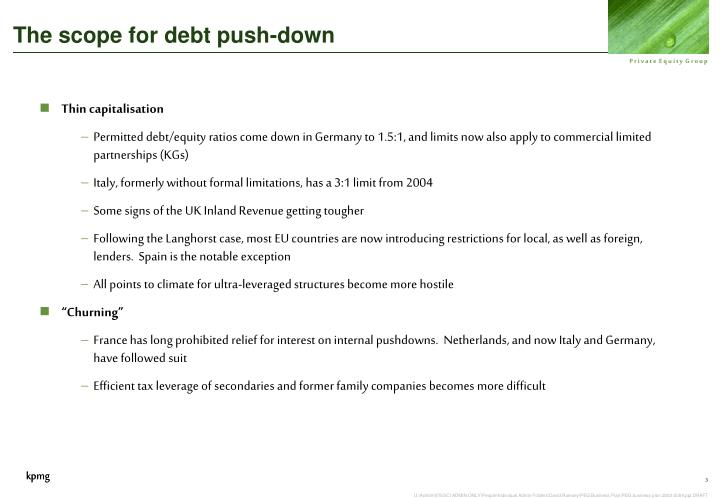 The scope for debt push-down