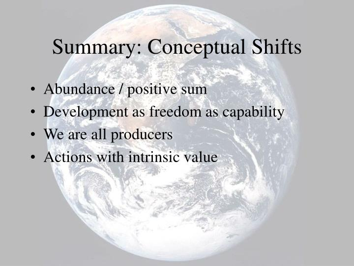Summary: Conceptual Shifts
