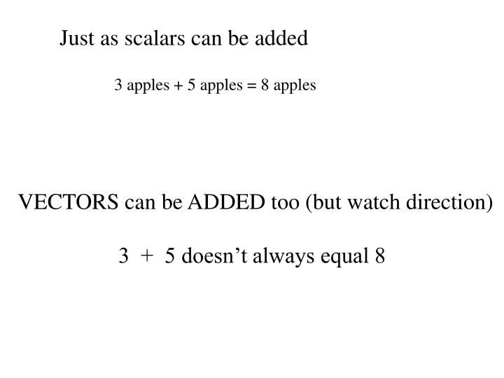 Just as scalars can be added