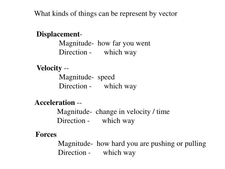 What kinds of things can be represent by vector