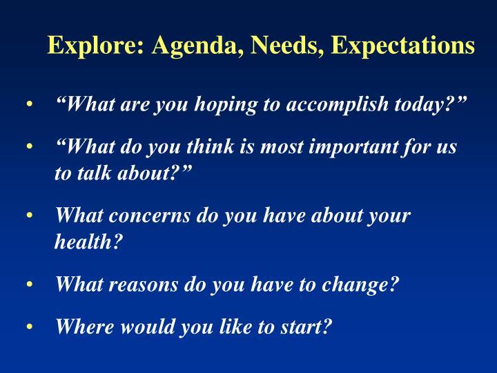 Explore: Agenda, Needs, Expectations