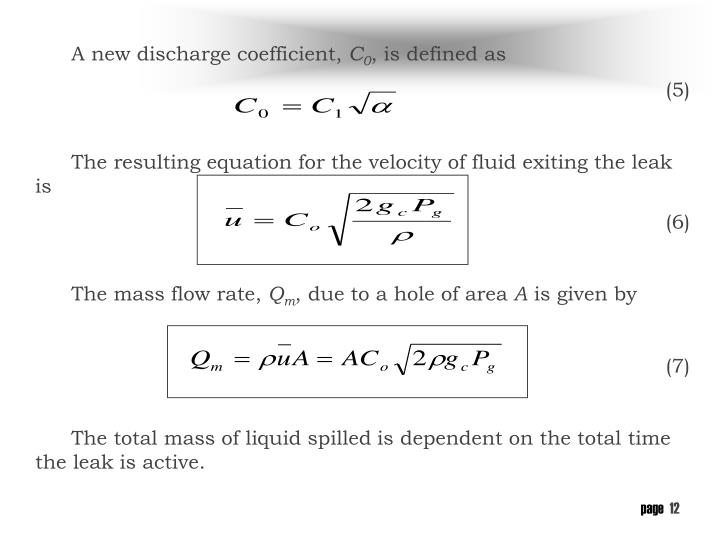 A new discharge coefficient,
