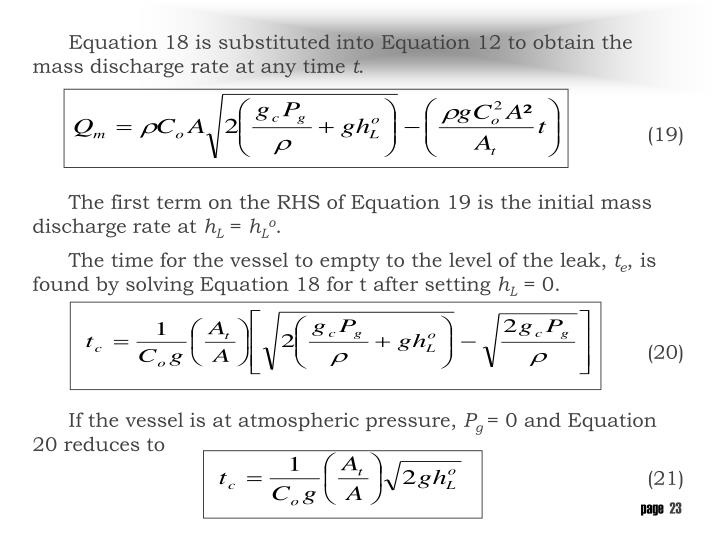 Equation 18 is substituted into Equation 12 to obtain the mass discharge rate at any time