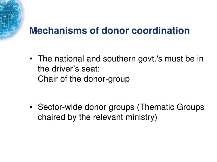 Mechanisms of donor coordination