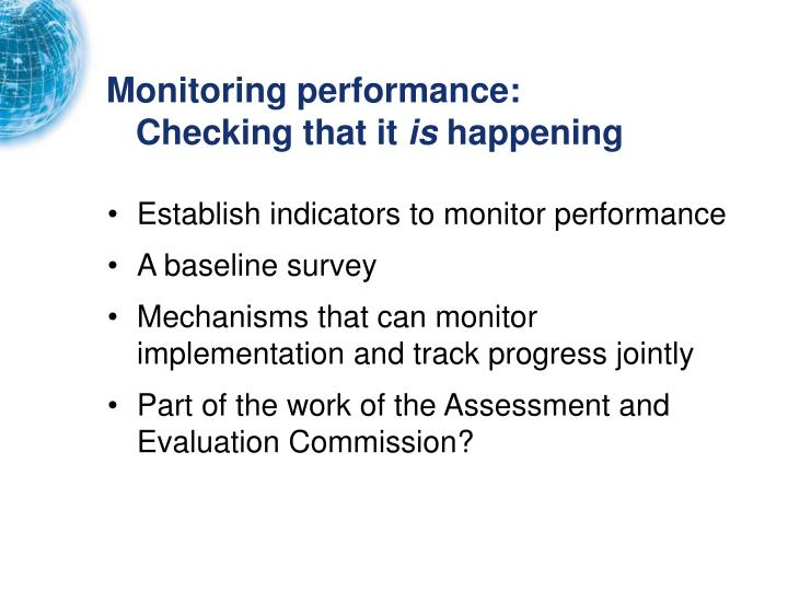 Monitoring performance: