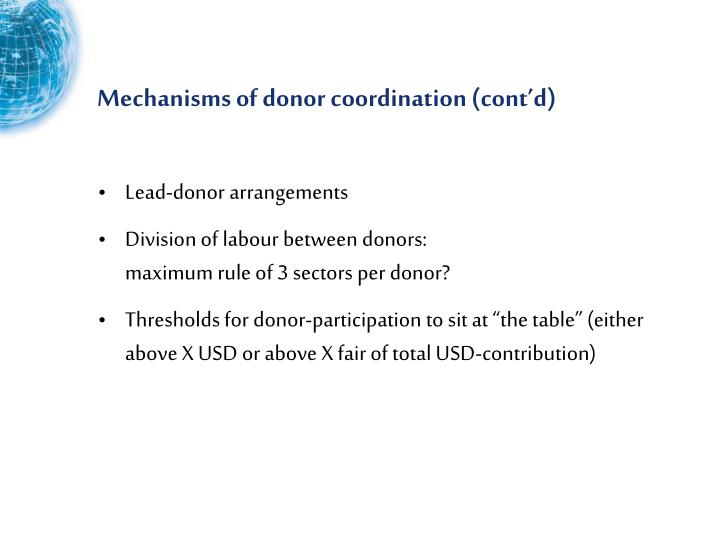 Mechanisms of donor coordination (cont'd)
