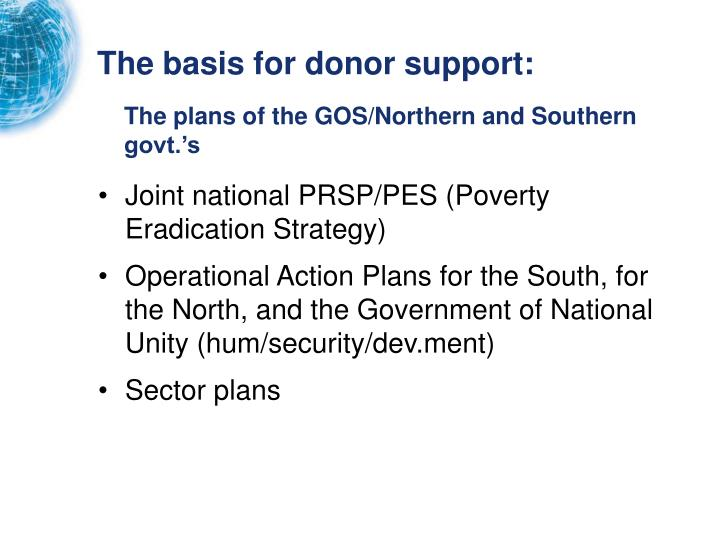 The basis for donor support: